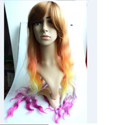 picture color Curly hair Synthetic hair Free Shipping women heat resistant wave anime cosplay wig costume party wigs Multicolor curly hair Color head Plait long wigs