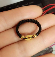 Wholesale New Pure Solid K Yellow Gold Ring Lucky Coin Smooth Beads weave String Ring