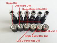 Wholesale dual coil skillet wax atomizer double coil skillet quartz Coil atomizer Ego M7 D atomizer wax burning device atomizer vapor D vaporizer