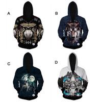 full zip hoodie - Men s Full Zip Eco Fleece Hoodie Jacket Hooded Sweatshirt D Funny cool wolf Design Costume Hoodie Thin for Autumn D724J