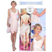 Cheap Cheap Celebrity Dresses 2015 Cocktail Party Dresses Swift Short Mini Backless V Neck Teen Choice Awards Red Carpet White Chiffon