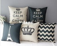 Wholesale Home Decorative Cotton Linen Blended Crown Throw Pillow Case
