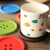 Wholesale 2000pcs Candy Color Round Button Design Cup Coaster Cup Mat
