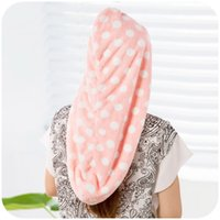 Wholesale fashion wave point thick increase coral fleece dry hair cap super absorbent thickened towel dry hairZy00243