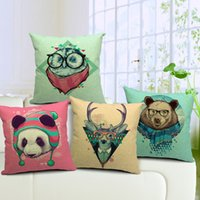 bear throws - Deer Owl Panda Bear Sofa Cushion Covers Animal Pattern Throw Pillow Cases Linen Cotton Pillow Covers X45cm Wedding Decoration