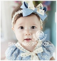 baby accessory stores - Sunshine store Jeans blue baby Headband Layered bow Lace Hair Band Vintage linen hair Accessory Freeshipping FDB03