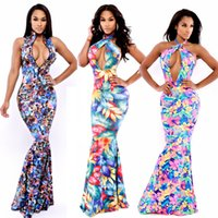 Cheap ladies sexy bandage print floral flower halter backless long maxi Prom Dresses Mermaid party elsastic Celebrity Bodycon summer