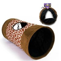 Wholesale Leopard Style Tunnel for Cats Polyester Fiber Soft Cloth Materials Enclosing Paper Cat Tunnel Toys TG CTOY0033