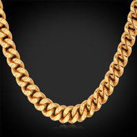 curb link chain - U7 K Real Gold Rose Gold Platinum Plated Layered Necklace Curb Link Chain Gift Three Sizes Fashion Men Jewelry Accessories