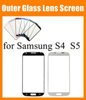 Wholesale Front Touch Screen For samsung galaxy s4 S5 Front Outer Glass Lens transparent digitizer plate protector skin Original top quality SNP009