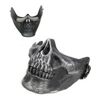 Wholesale 2015 Gift New Skull Skeleton Airsoft Paintball Half Face Protective Mask For Halloween Hot Sale