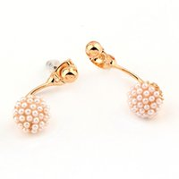 Wholesale 1pair Gold plated ball stud earring Alloy Artificial Pearl Ear Studs Jewelry for Women Girls new