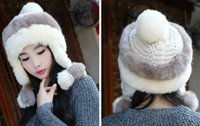 Wholesale Lei feng s hat Men s and women s winter knitting wool in winter Imitation of rabbit hair thickening Mongolia hat cycling earmuffs