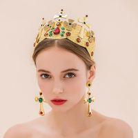 Cheap Gorgeous Crystal Wedding Bridal Tiaras Crown with Earrings Wedding Hair Jewelry 2016 Vintage Bridal Headpiece Hai Accessories Headdress