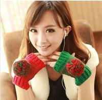 ab gloves - Free ship pair heart warm winter wool mittens cute oge ball wool gloves AB models reveal half finger gloves