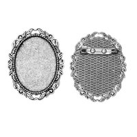 aqua cabochons - New Fashion Brooches Pin Brooches Fit x30mm Cabochons Silver Tone Lace Leaf Hollow x4cm