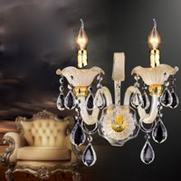 Wholesale Wall Lamps Modern European Luxury Decoration Single Head Double Heads Candle K9 Crystal Wall Lamps Living room dining room bedroom Lighting