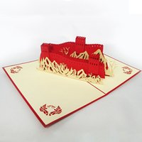 Wholesale Chinese quot Great Wall quot Handmade Kirigami Origami D Pop UP Greeting Cards For Birthday Gift set of