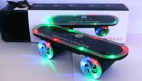 Wholesale Scooter BT03L Skateboard Mini Bluetooth Speaker with LED Light Wireless Stereo Audio Player Protable Handsfree FM Super Bass Xmas Gift