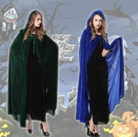 Wholesale Hot sale Halloween Costumes Halloween Vampire Cloak hooded Witch Wizard Cloak Death Gown Robe Fancy Cosplay For adult