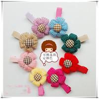 Barrettes wool Floral Mix colors wool hair clips Baby knitwear flower Children Grosgrain Bowknot Hair clips Girls Hair Accessories Kids Barrettes BA63