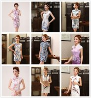 Wholesale 10 Style Sexy Gorgeous New Silk Chinese Vintage Silm Women Cheongsams Delicate Handmade Qipao Unique Party Dresses