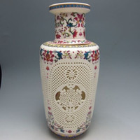 antique ceramic marks - Chinese Antique Set Piece Hollowed Chinese Rose Colorful Porcelain Big Vase w Qianlong Mark