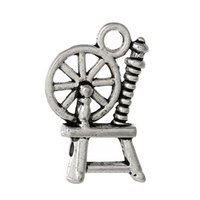 antique spinning wheel - Charm Pendants Spinning Wheel Antique Silver mm x mm new