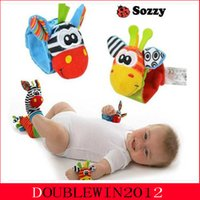 Wholesale 20pcs New Lamaze Style Sozzy rattle Wrist donkey Zebra Wrist Rattle and Socks toys set wrist socks