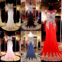 Wholesale 2016 Hot Appliqued Prom Evening Gowns Sheer Neck Sleeveless Maxi Mermaid Long Party Dresses Cheap Vestidos CPS176