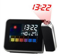 Wholesale Multi function Digital LCD Screen LED Projector Alarm Clock Mini Desktop With Weather Station Drop Shipping