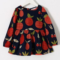 Cheap Fruit Frin Style Dresses 2015 New Collection Long Sleeve Dresses Sweet Style Dresses Pleated Dresses Girls Dresses
