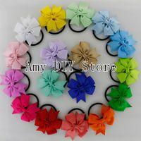 baby bow holders - Baby Girls Elastic Hair Band Pony Tail Holder Ribbon Pinwheel Bows Headband For Kids Hair Accessories HJ004 XP