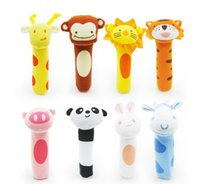 Wholesale 2015 Newborn Baby Toys Soft Animal Model Handbells Plush Rattles Squeeze Me Rattle Cute Gift Baby toy months