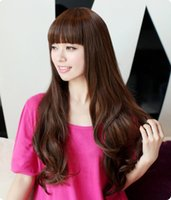 Wholesale High Quality Beautiful Women Full Wig Synthetic Neat Bang New Fashion Women s Long Waved Hair Wig cm