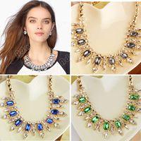 Wholesale Fashion Ladies European Style Elegant Punk Rhinestones Choker Pendant Chain Necklace Jewelry SV002576