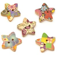 Cheap Wholesale 100 Mixed Star Shape 2 Holes Wood Sewing Buttons Scrapbook 18x17mm Knopf Bouton(W01525 X 1)