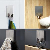 Wholesale White Stainless Steel Family Robe Hooks Hats Bag Key Adhesive Wall Hanger Bathroom Door X15mm