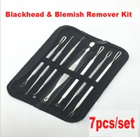 Wholesale 7PCS Stainless Blackhead Comedone Acne Blemish Extractor Remover Cosmetic Tool Stainless Needles Remove Tool Skin Care Beauty bags