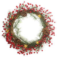 berry garland - 2015 Christmas Ornaments Home Garden Door Deco Cane Garland with Pine Needles Dia cm Wreath with Red Berries and Pinecones DWC007
