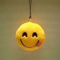 bag emoticon - FG1509 Cute Phone Strap Emoji Emoticon Key Ring Yellow Cushion Stuffed Plush Soft Toy Doll Key Chains Bag Squishy Christmas Z1705