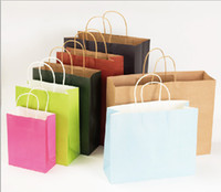 Wholesale Kraft paper shopping bag shoes clothes gifts tote bag mall shopping package bag customized logo available