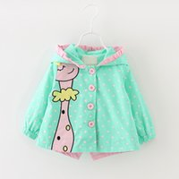 baby bow outwears - new designer baby girls jackets cartoon animal cotton outwear for kids toddler girls bow dot overcoat princess hooded girls coat four colors