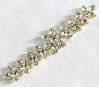 Wholesale cm beautiful white crystal rhinestone applique long strass trims gold wedding dress hat coat garment jewelry