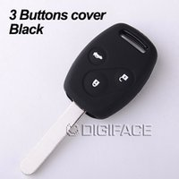 Wholesale Black silicone car key fob skin shell stickers cover case set for honda Accord CR V Civic Fit Freed buttons keyrings car accessories