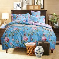 best queen size beds - Skyblue Floral Comforter Set Beautiful Printed Sheet Set Best Choice For Bedroom Bedding Set Queen Size High Quality