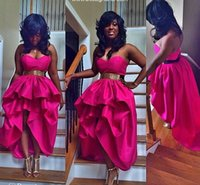 Wholesale 2015 Fuchsia glossy A line celebrity short prom party dresses sexy backless sweetheart Hi lo evening gowns vestidos de noiva cocktail dress