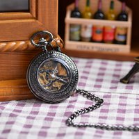 best stationary - Fashion Luxury Vine Black Engraved Case Men Mechanical Pocket Watch With Chain Hand Winding Best Gift Pendant Necklace Hot