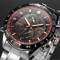 analog clock display - CURREN Brand Watches Fashion Auto Date Display Black Stainless Full Steel Strap Male Clock Men Wristwatch Quartz Sport Watch Waterproof