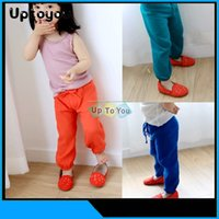 Wholesale 2015 Spring summer Children Girls Solid Color Lantern Style Kids Casual Pants Elastic Band Baby Anti mosquito Pant Child Long Trousers